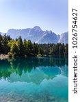 Small photo of Amazing colors of alpine lakes Fusine park. Tarvisio (Udine) Friuli Venezia Giulia, Italy