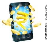 rupee money phone concept...   Shutterstock .eps vector #102679343
