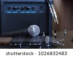 amplifier  audio cable and... | Shutterstock . vector #1026832483