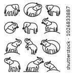 elephant set. vector   Shutterstock .eps vector #1026833887