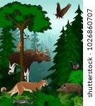 vector woodland green forest... | Shutterstock .eps vector #1026860707
