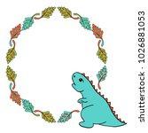 little blue dinosaur... | Shutterstock .eps vector #1026881053