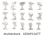 tree silhouettes on white... | Shutterstock .eps vector #1026911677