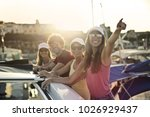 happy friends on vacation | Shutterstock . vector #1026929437
