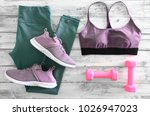 womens active clothes  leggings ... | Shutterstock . vector #1026947023