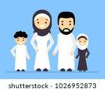 arab people  arabic family ... | Shutterstock .eps vector #1026952873