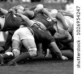 melee during a rugby match | Shutterstock . vector #1026954247
