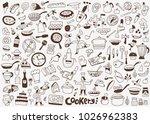cooking food doodles  | Shutterstock .eps vector #1026962383