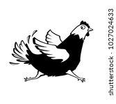 vector running chicken cartoon... | Shutterstock .eps vector #1027024633