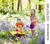 kids with bluebell flowers ... | Shutterstock . vector #1027027183
