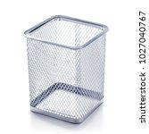 pen and pencil in holder basket ... | Shutterstock . vector #1027040767