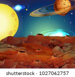 background scene with moon and... | Shutterstock .eps vector #1027062757