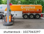gasoline delivery truck at a... | Shutterstock . vector #1027063297
