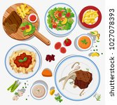 different types of food on... | Shutterstock .eps vector #1027078393