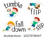boy flipping and falling down... | Shutterstock .eps vector #1027078447