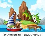 sailor on sailboat at sea...   Shutterstock .eps vector #1027078477