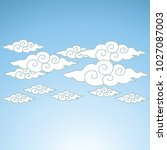 ancient thai cloud design with... | Shutterstock .eps vector #1027087003