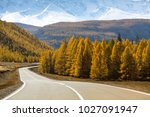 highway chuysky trakt with the... | Shutterstock . vector #1027091947