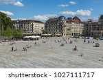 Small photo of Zurich, Switzerland - 30 July, 2015: Sechselautenplatz square in the city of Zurich. Sechselautenplatz is a town square in Zurich, it is the largest one within the city.