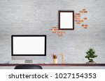 comfortable workplace with... | Shutterstock . vector #1027154353