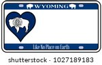 wyoming license plate | Shutterstock . vector #1027189183