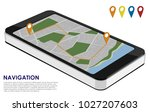 isometric smartphone with city... | Shutterstock .eps vector #1027207603