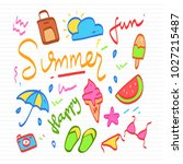 summer doodle icons on paper... | Shutterstock .eps vector #1027215487