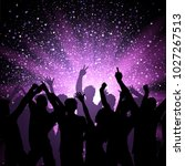 silhouette of a party crowd on...   Shutterstock .eps vector #1027267513