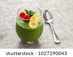 homemade matcha green tea chia... | Shutterstock . vector #1027290043