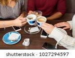 closeup of friends having... | Shutterstock . vector #1027294597