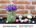easter holiday decoration with... | Shutterstock . vector #1027307227