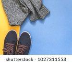 flat lay traveler accessories... | Shutterstock . vector #1027311553