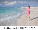 happy woman smiling with wind... | Shutterstock . vector #1027315207