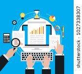 business graph statistics flat... | Shutterstock .eps vector #1027338307