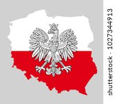 poland map with eagle and white ... | Shutterstock .eps vector #1027344913