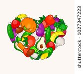 vector vegetable and fruit... | Shutterstock .eps vector #1027347223