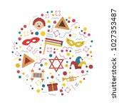 purim holiday flat design icons ... | Shutterstock .eps vector #1027353487