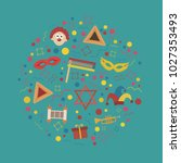 purim holiday flat design icons ... | Shutterstock .eps vector #1027353493