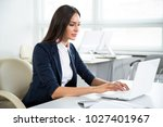 young businesswoman with laptop ... | Shutterstock . vector #1027401967