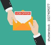 open envelope with job offer... | Shutterstock .eps vector #1027409377
