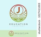 education initial letter j logo ... | Shutterstock .eps vector #1027411003