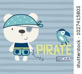 pirate teddy bear with bird on... | Shutterstock .eps vector #1027415803