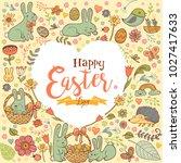 cute easte festive frame in the ... | Shutterstock .eps vector #1027417633