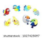 cute parrot set vector... | Shutterstock .eps vector #1027425097