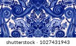 abstract blue paisley pattern.... | Shutterstock .eps vector #1027431943