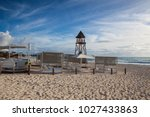 the lifeguard tower on the... | Shutterstock . vector #1027433863