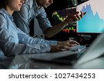 analyzing data  graphs and...   Shutterstock . vector #1027434253