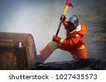 firefighters training  team... | Shutterstock . vector #1027435573