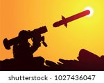 us soldier launches portable...   Shutterstock .eps vector #1027436047