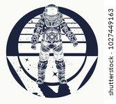astronaut tattoo. cosmonaut in... | Shutterstock .eps vector #1027449163
